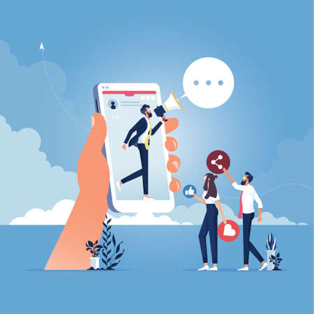 Businessman stand on smartphone with a megaphone shouts recommend to a friend, sharing information, online advertising, online marketing concept vector