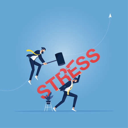 Business man use hammer try to break stress word from another Vektorgrafik