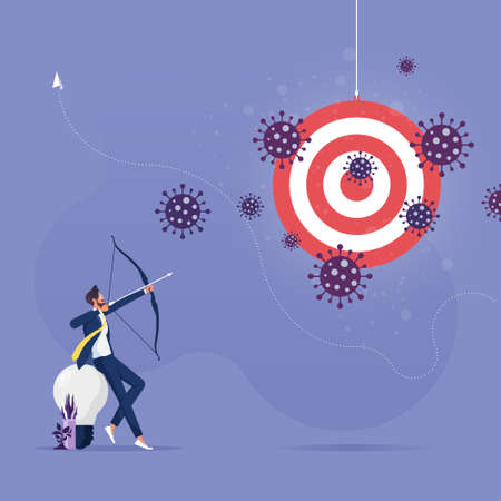 Businessman shooting arrow to target on coronavirus crisis, Concept of lost goal or business failure