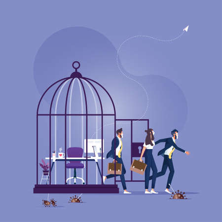 People wearing mask came out of the open cage, unlock the cage and people return to work