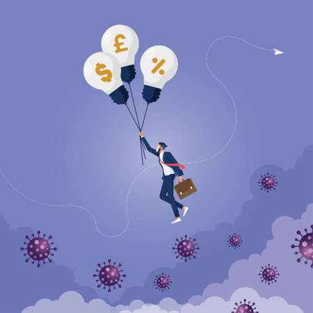 Coronavirus crisis, COVID-19 pandemic impact business and company with help of banking and government to reduce interest rate and stimulus package, businessman holding balloons fly pass virus  イラスト・ベクター素材
