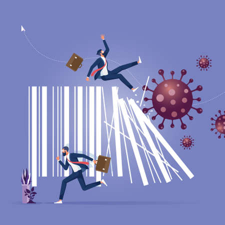 Concept of the economic crisis with a shattered bar code in the face of the Coronavirus epidemic, causing the collapse of international trade