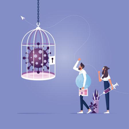 Business company lockdown Coronavirus in cage with COVID-19 virus pathogen Иллюстрация