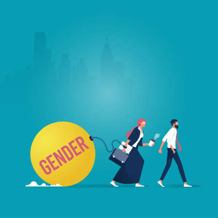 Vector of a businesswoman dragging gender burden vs businessman walking freely