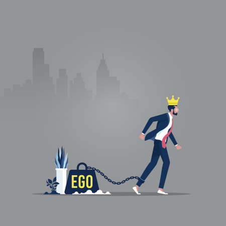 Big weight in the form of an ego is chained to the foot of a man with a crown on his head