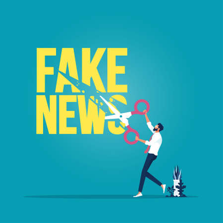 Businessman use scissors cutting fake news text, Stop fake news and misinformation spreading on internet and media concept