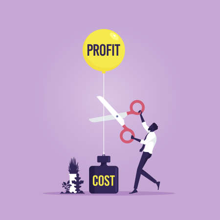 Businessman cutting Profits balloon and costs weight with scissors. Business financial concept vector