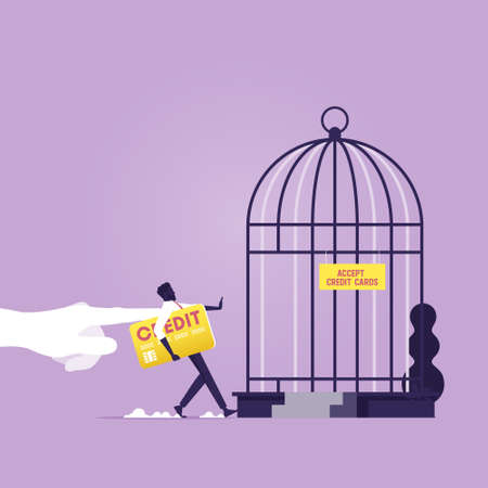 Big hand push businessman with credit card in to birdcage metaphor of debt