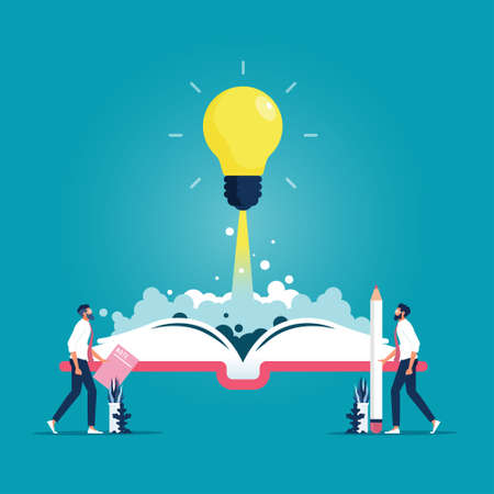 Open book with rocket shining bulb flying out, Idea, inspiration, Power of knowledge sign