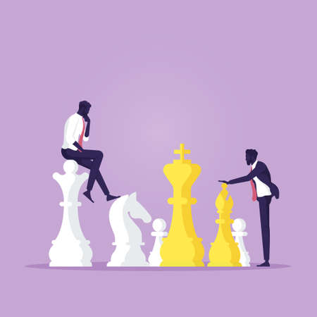 Businessman playing chess and try to find strategic position and tactic for long-term success plan or goal. Symbol of vision, competition, negotiation, planning and challenge.