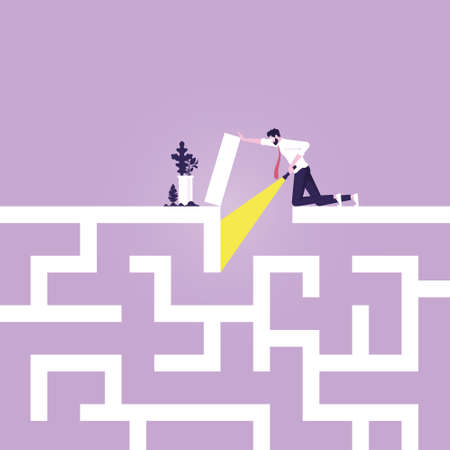 businessman searching way in maze, embarks on a difficult Maze journey, solve problems
