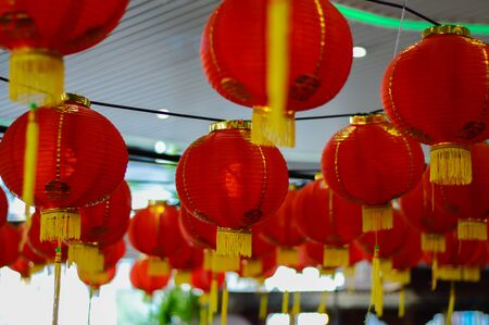 malaysia culture: Red lantern on the occasion of the Chinese New Year. Stock Photo