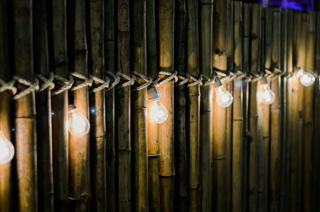 Light bulb on bamboo ,blur and bokeh.