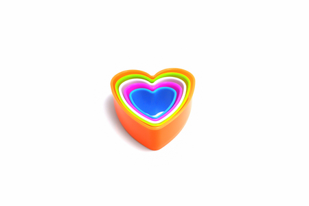 Heart multicolored stack On a white background