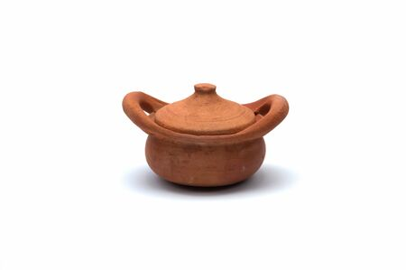 earthen pot isolated on white background Stock Photo