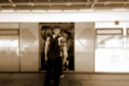 abstract paintings: blurred photo, Blurry image, people At station Electric train, background