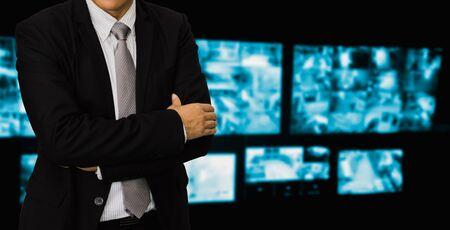 blurred photo, Blurry image, closed circuit camera,security system walkie-talkie while looking at CCTV footage. 版權商用圖片
