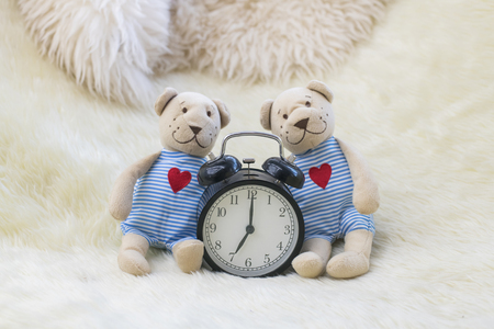 The couple of lover dolls set love scene in the house. Stock Photo