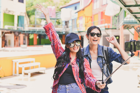 Tourists are taking in the city. Stock Photo