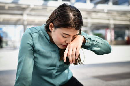 Business people sad concept, Young business women are crying because they are unemployed.
