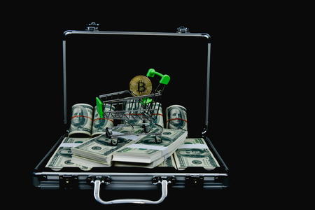Finance Business Concepts. Lots of money on a black background. Investments are a necessity of business. Businessman looking at a lot of money.