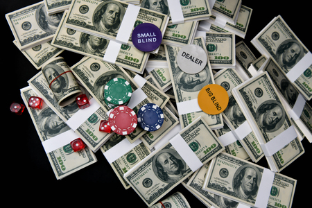 Gambling Concepts. Businessmen are gambling in the casino. Betting is a gamble for investors. Businessmen are playing card games on a black background.