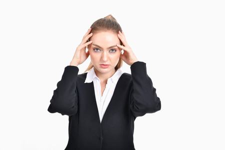 Business concept. Young business people feel tired in their work. Young businesswoman suffering from eyestrain