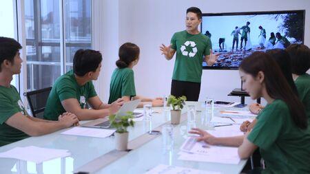 Participation Concept. Volunteer Team talking for work together at meeting room. 4k Resolution.