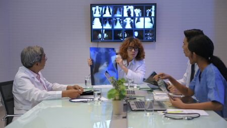 Medical concept. Medical concept. Doctors are meeting together in the office. 4k Resolution. Banco de Imagens