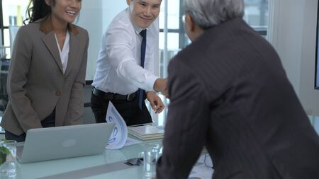 Business concepts. The young man is negotiating for business and success. 4k Resolution.