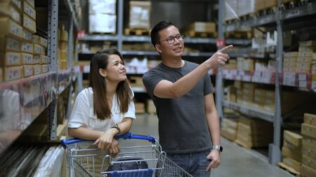 Shopping concepts. Customers are looking for products in the warehouse. 4k Resolution.