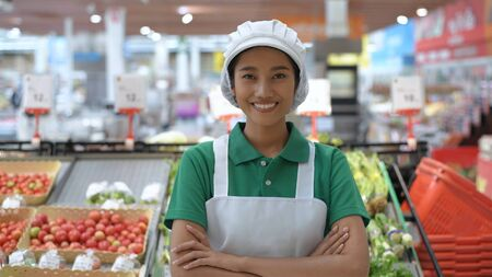 Shopping concepts. The sales staff are confident in customer service at the fruit and vegetable department