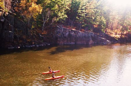 Two Paddlers On The St. Croix River