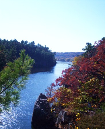 minnesota woods: Fall Colors On The St. Croix River Stock Photo