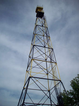 electric current: Black And Yellow Electric Tower