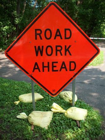 work ahead: Road Work Ahead Sign Stock Photo