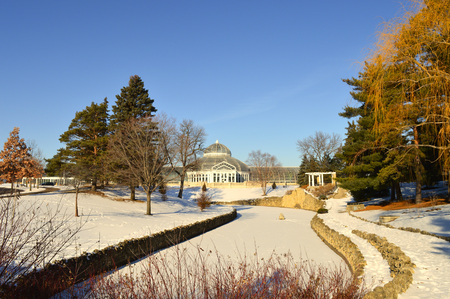 Como Zoo and Conservatory in St. Paul, MN during winter Banco de Imagens - 126832503