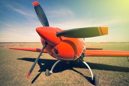 private parts: Red sport aircraft Stock Photo