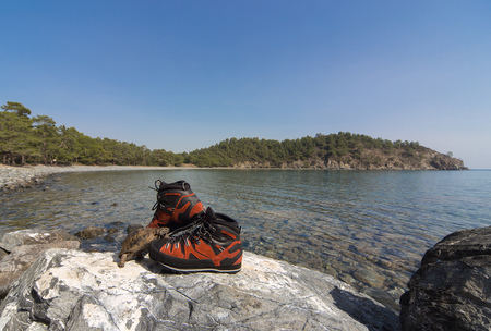 demanding: Turtle near mountain boots for demanding hikes.