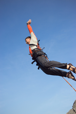 bungee jumping: Jump off the cliff with a rope.