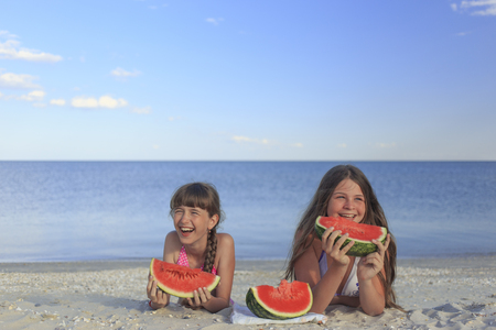 children's wear: Holidays at the seaside with a delicious watermelons.