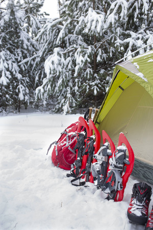 snowshoes: Camping in the winter campaign of winter with snowshoes and tent.