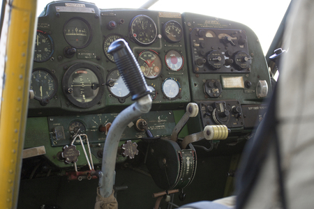 altimeter: Small private motor airplane dashboard inside the cabin. Stock Photo