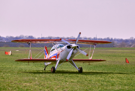 airplane ultralight: Sports airplane ready for flight on a sunny day.