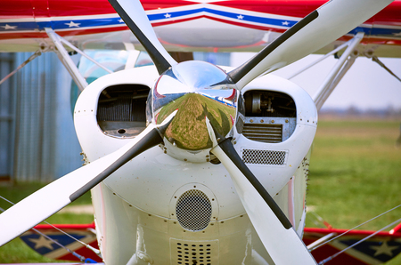 airplane ultralight: Front of the sports plane with a propeller.