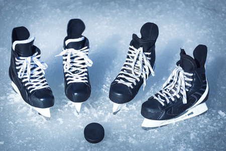 Skates for training in winter sports on ice. Stock Photo