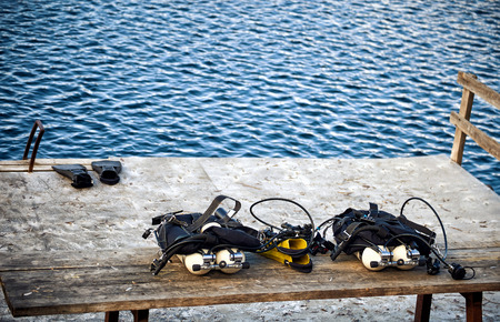 All scuba diving equipment before diving during the day. Stok Fotoğraf
