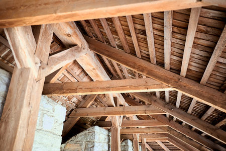 New home construction with wooden house frame building wooden building wooden construction.