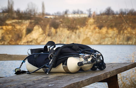 All scuba diving equipment before diving during the day. Stock Photo
