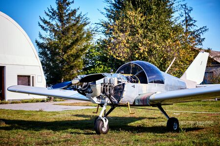 Light aircraft with a propeller to prepare for takeoff.